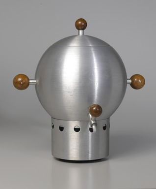 Russel Wright (American, 1904-1976). Coffee Urn, ca. 1935. Spun aluminum and walnut, 16 x 13 x 8 1/4 in.  (40.6 x 33.0 x 21.0 cm). Brooklyn Museum, Gift of Paul F. Walter, 1994.165.1a-d. Creative Commons-BY