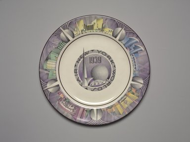Charles Murphy (American, 1909-1994). Plate (New York World's Fair), ca. 1939. Glazed earthenware, 3/4 x 10 1/8 x 10 1/8 in. (1.9 x 25.7 x 25.7 cm). Brooklyn Museum, Gift of Paul F. Walter, 1994.165.75. Creative Commons-BY