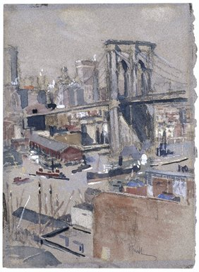 Joseph Pennell (American, 1860-1926). Brooklyn Bridge, before 1921. Transparent and opaque watercolor and black chalk on gray-blue, moderately thick, rough and pitted-textured wove paper, 13 5/8 x 10 1/16 in. (34.6 x 25.6 cm). Brooklyn Museum, Gift of Jerome B. and Renee Weinstein, 1994.166