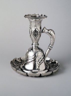 Tiffany & Company (American, founded 1853). Chamberstick, 1889. Silver and niello, 5 x 4 5/8 x 4 5/8 in. (12.8 x 11.8 x 11.8 cm). Brooklyn Museum, Marie Bernice Bitzer Fund, 1994.17.1. Creative Commons-BY