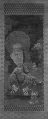 Arhat with Attendant, from A Set of 16 Arhats, Rakan, 14th century. Hanging scroll; ink, color, cut gold leaf on rough silk, Overall- height: 68 1/2 in. Brooklyn Museum, Gift of Mr. and Mrs. Leighton R. Longhi, 1994.195