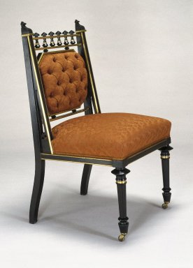 George Jacob Hunzinger (American, born Germany, 1835-1898). Side Chair, ca. 1878. Ebonized wood and brass, 37 1/2 x 20 5/8 x 21 1/4 in. (95.2 x 52.4 x 54.0 cm). Brooklyn Museum, Alfred T. and Caroline S. Zoebisch Fund and Maria L. Emmons Fund, 1994.2.1. Creative Commons-BY