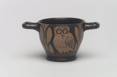 Red-Figure Owl Skyphos (Drinking Cup), 4th-3rd century B.C.E. Pottery, painted, 3 x 5 7/8 x 3 9/16 in. (7.6 x 14.9 x 9.1 cm). Brooklyn Museum, Gift of Robin F. Beningson, 1994.209.7. Creative Commons-BY