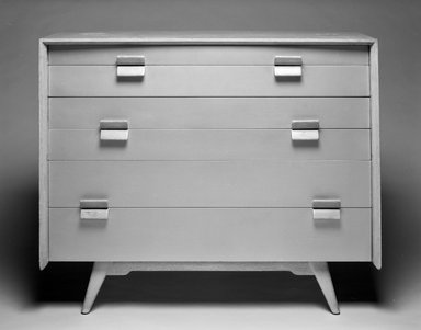 Jens Risom (American, born Denmark, 1916). Chest-of-Drawers, ca. 1955. Pickled oak, silver lacquer, 36 1/8 x 43 3/8 x 19 1/2 in. (91.8 x 110.1 x 49.5 cm). Brooklyn Museum, Gift of Paul F. Walter in memory of May E. Walter, 1994.21.1. Creative Commons-BY