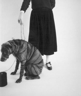 William Wegman (American, born 1943). Man Ray and Britta, 1980. Dye diffusion photograph (Polaroid), sheet: 29 x 21 7/8 in. Brooklyn Museum, Gift of Laurie Jewell and Owen Morrell, 1994.224.3. © William Wegman