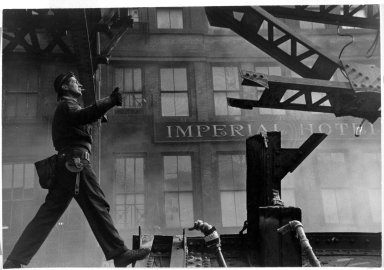 Vivian Cherry (American, born 1920). Tearing Down of 3rd Avenue  EL, 1955. Gelatin silver photograph, 8 7/8 x 13 1/4 in.  (22.5 x 33.7 cm). Brooklyn Museum, Purchased with funds given by the Horace W. Goldsmith Foundation, Harry Kahn, and Mrs. Carl L. Selden, 1994.31.3. © Vivian Cherry