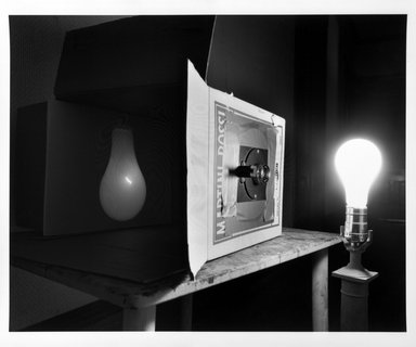 Abelardo Morell. Light Bulb, 1991. Gelatin silver photograph (camera obscura), sheet: 19 3/4 x 23 7/8 in. Brooklyn Museum, Gift of the artist in memory of his friend, Bill Beckler, 1994.35. © Abelardo Morell