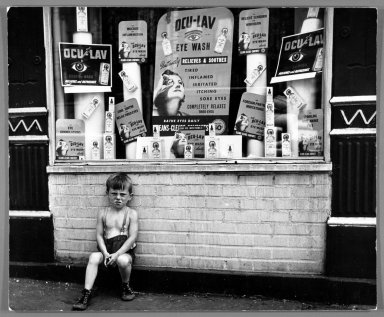 "Vivian Cherry (American, born 1920). Chelsea, Manhattan - ""Ocu-Lav,"" 1948. Gelatin silver photograph, 10 1/2 x 12 3/4 in. (26.7 x 32.1 cm). Brooklyn Museum, Gift of Steven Schmidt, 1994.38. © Vivian Cherry"