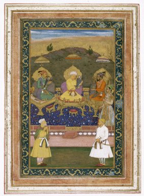 Chitaraman (Indian). The Emperors Akbar, Jahangir, and Shah Jahan with Their Ministers and Prince Dara Shikoh, ca. 1630-1640. Opaque watercolor and gold on paper, 22 x 32 in. (55.9 x 81.3 cm). Brooklyn Museum, Gift of the Asian Art Council in memory of Stanley J. Love, 1994.42