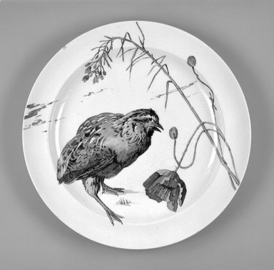 Leonce Goutard. Plate, 1872-1875. Glazed earthenware, height: 7/8 in. (2 cm). Brooklyn Museum, H. Randolph Lever Fund, 1994.57. Creative Commons-BY
