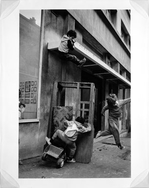 Martine Barrat (Algerian, born 1933). Paris, La Goutte D'or, Friends Playing, 1984. Gelatin silver photograph, image: 17 x 7/8 x 12 in. (45.4 x 30.5 cm). Brooklyn Museum, Gift of the artist, 1994.6.2. © Martine Barrat