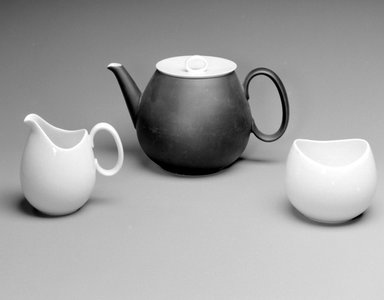 Raymond Loewy (American, born France, 1893-1986). Teapot and Lid, Studio Line, ca. 1954. Porcelain, 5 3/8 x 8 5/8 x 5 1/2 in. (13.7 x 21.9 x 14 cm). Brooklyn Museum, Gift of Della Petrick Rothermel in memory of John Petrick Rothermel, 1994.61.12a-b. Creative Commons-BY