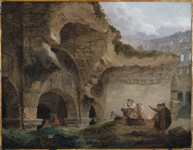 Hubert Robert (French, 1733-1808). Washerwomen in the Ruins of the Colosseum, ca. 1760s. Oil on canvas, 17 3/4 x 22 3/4 in. (45.1 x 57.8 cm). Brooklyn Museum, Anonymous gift, 1994.70