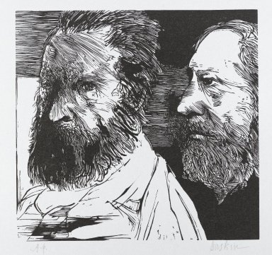 Leonard Baskin (American, 1922-2000). J.F. Millet and Th. Rousseau, n.d. Woodcut on thin wove paper, Sheet: 14 x 11 in. (35.6 x 28 cm). Brooklyn Museum, Gift of Estelle and Jay Sam Unger, 1994.73.2. © Estate of Leonard Baskin, Courtesy Galerie St. Etienne, New York