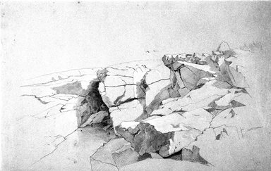 William Stanley Haseltine (American, 1835-1900). Rocks at Narragansett, Rhode Island, 1862-1863. Graphite and white crayon (or chalk) on blue paper, Sheet: 13 7/8 x 21 13/16 in. (35.2 x 55.4 cm). Brooklyn Museum, Given in memory of Anthony E. Fahnestock by his wife, Andrea Henderson Fahnestock, 1994.76