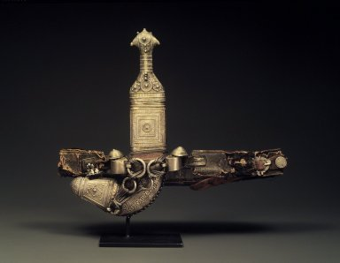 Dagger with Sheath and Belt, 19th century. Steel, buffalo horn covered with granulated and repousse sheet silver, leather and cotton brocaded with metal thread, dagger, length: 12 in. Brooklyn Museum, Purchased with funds given by Mrs. Carl L. Selden and Dr. Bertram H. Schaffner, 1994.8a-b. Creative Commons-BY