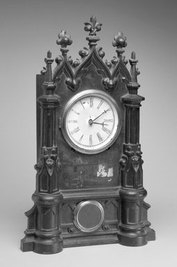 C. Chinnocks. Clock and Key, ca. 1845-1865. Cast iron, wood, gilt metal and glass, 20.25 x 12.5 x 4.75 in.  (51.4 x 31.8 x 12.1 cm). Brooklyn Museum, Gift of David A. Hanks in memory of Henry P. McIlhenny, 1995.105a-b. Creative Commons-BY