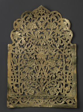 The Ahmedabad Workshops for Lockwood de Forest. Panel with design of Flowers within Morrish Arch, No. 35, ca. 1881-1900. Brass, height: 11 3/4 in. Brooklyn Museum, Alfred T. and Caroline S. Zoebisch Fund, 1995.13.6. Creative Commons-BY