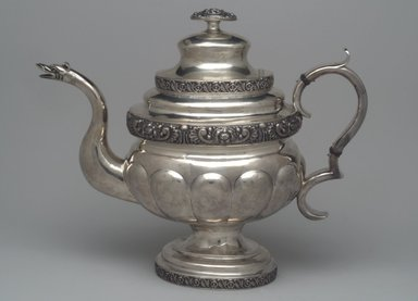 Unknown. Teapot, Part of Three-Piece Set, ca. 1826-1828. Silver, 10 1/2 x 12 1/2 x 5 1/2 in. (26.5 x 31.6 x 14.0 cm). Brooklyn Museum, Gift of Marcelle H. Littell, 1995.151.1. Creative Commons-BY