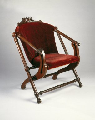 George Jacob Hunzinger (American, born Germany, 1835-1898). Folding Chair, ca. 1873. Wood, original upholstery, 31 5/8 x 27 1/2 x 29 1/4 in.  (80.3 x 69.9 x 74.3 cm). Brooklyn Museum, Gift of Norman K. Mizuno and Alan J. Davidson, 1995.153. Creative Commons-BY
