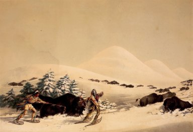 George Catlin (American, 1796-1872). Buffalo Hunt, on Snow Shoes. Lithograph on cream wove paper, 12 1/16 x 17 9/16 in. (30.6 x 44.6 cm). Brooklyn Museum, Gift of Allan D. Chapman, 1995.156.1