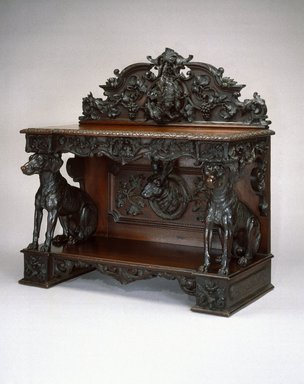 Alexander Roux (American, born France, 1813-1886 (active New York, 1836-1880)). Sideboard, ca. 1855. Black walnut, 49 x 49 x 24 in. (124.5 x 124.5 x 61.0 cm). Brooklyn Museum, Gift of Benno Bordiga, by exchange, 1995.15. Creative Commons-BY