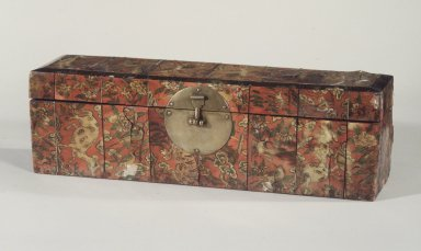 Box, late 19th-early 20th century. Wood, brass fittings, back-painted ox horn panels, 4 15/16 x 16 9/16 x 4 7/16 in. (12.5 x 42 x 11.2 cm). Brooklyn Museum, Gift of Dr. and Mrs. John P. Lyden, 1995.184.1. Creative Commons-BY