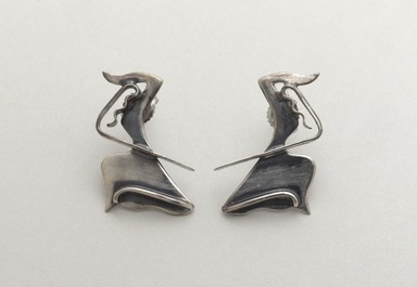 Ed Wiener (American, 1918-1991). The Dancer  (Earrings), ca. 1947. Silver, a & b:  1 x 3/4 in.  (2.5 x 1.9 cm). Brooklyn Museum, Gift of Michele Wiener Caplan, 1995.192.2a-b. Creative Commons-BY