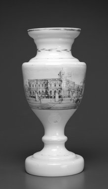Vase (City Hall, New York), ca. 1840. Glass, 9 3/16 x 3 3/4 x 3 3/4 in. (23.3 x 9.5 x 9.5 cm). Brooklyn Museum, Gift of Wunsch Americana Foundation, Inc., 1995.195.1. Creative Commons-BY