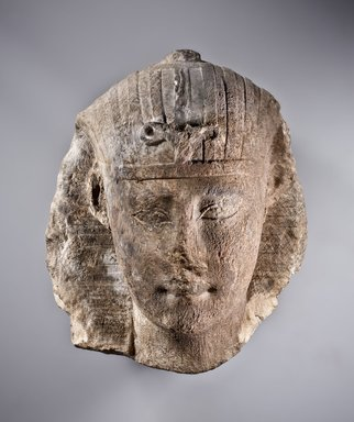 Ptolemaic King, 150-100 B.C.E. Limestone, traces of pigment, 12 1/2 x 10 13/16 x 9 5/8 in. (31.8 x 27.4 x 24.4 cm). Brooklyn Museum, Gift of Christos G. Bastis in honor of Richard Fazzini, 1995.28. Creative Commons-BY