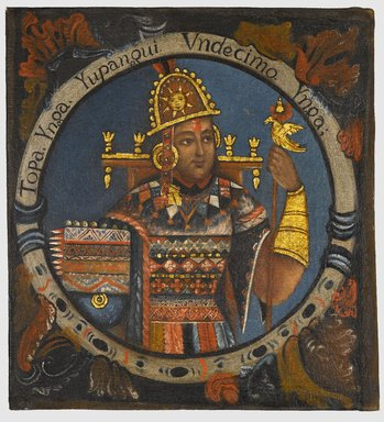 Tupac Yupanqui, Eleventh Inca, 1 of 14 Portraits of Inca Kings, Probably mid-18th century. Oil on canvas, 23 1/8 x 21 1/4in. (58.7 x 54cm). Brooklyn Museum, Dick S. Ramsay Fund, Mary Smith Dorward Fund, Marie Bernice Bitzer Fund, Frank L. Babbott Fund, gift of The Roebling Society and the American Art Council, purchased with funds given by an anonymous donor, Maureen and Marshall Cogan, Karen B. Cohen, Georgia and Michael deHavenon, Harry Kahn, Alastair B. Martin, Ted and Connie Roosevelt, Frieda and Milton F. Rosenthal, Sol Schreiber in memory of Ann Schreiber, Joanne Witty and Eugene Keilin, Thomas L. Pulling, Roy J. Zuckerberg, Kitty and Herbert Glantz, Ellen and Leonard L. Milberg, Paul and Thérèse Bernbach, Emma and J. A. Lewis, Florence R. Kingdon, 1995.29.11