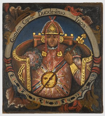 Unknown. Huayna Capac, Twelfth Inca, 1 of 14 Portraits of Inca Kings, mid-18th century (probably). Oil on canvas, 23 1/2 x 21 1/2in. (59.7 x 54.6cm). Brooklyn Museum, Dick S. Ramsay Fund, Mary Smith Dorward Fund, Marie Bernice Bitzer Fund, Frank L. Babbott Fund, gift of The Roebling Society and the American Art Council, purchased with funds given by an anonymous donor, Maureen and Marshall Cogan, Karen B. Cohen, Georgia and Michael deHavenon, Harry Kahn, Alastair B. Martin, Ted and Connie Roosevelt, Frieda and Milton F. Rosenthal, Sol Schreiber in memory of Ann Schreiber, Joanne Witty and Eugene Keilin, Thomas L. Pulling, Roy J. Zuckerberg, Kitty and Herbert Glantz, Ellen and Leonard L. Milberg, Paul and Thérèse Bernbach, Emma and J. A. Lewis, Florence R. Kingdon, 1995.29.12