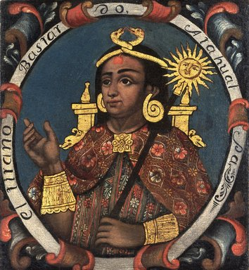 Atahualpa, Fourteenth Inca, 1 of 14 Portraits of Inca Kings, Probably mid-18th century. Oil on canvas, 23 5/8 x 21 3/4in. (60 x 55.2cm). Brooklyn Museum, Dick S. Ramsay Fund, Mary Smith Dorward Fund, Marie Bernice Bitzer Fund, Frank L. Babbott Fund, gift of The Roebling Society and the American Art Council, purchased with funds given by an anonymous donor, Maureen and Marshall Cogan, Karen B. Cohen, Georgia and Michael deHavenon, Harry Kahn, Alastair B. Martin, Ted and Connie Roosevelt, Frieda and Milton F. Rosenthal, Sol Schreiber in memory of Ann Schreiber, Joanne Witty and Eugene Keilin, Thomas L. Pulling, Roy J. Zuckerberg, Kitty and Herbert Glantz, Ellen and Leonard L. Milberg, Paul and Thérèse Bernbach, Emma and J. A. Lewis, Florence R. Kingdon, 1995.29.14