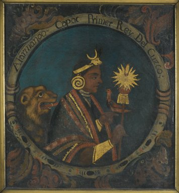 Peruvian. Manco Capac, First Inca, 1 of 14 Portraits of Inca Kings, mid-18th century (probably). Oil on canvas, 23 1/2 x 21 11/16 in. (59.7 x 55.1 cm). Brooklyn Museum, Dick S. Ramsay Fund, Mary Smith Dorward Fund, Marie Bernice Bitzer Fund, Frank L. Babbott Fund, gift of The Roebling Society and the American Art Council, purchased with funds given by an anonymous donor, Maureen and Marshall Cogan, Karen B. Cohen, Georgia and Michael deHavenon, Harry Kahn, Alastair B. Martin, Ted and Connie Roosevelt, Frieda and Milton F. Rosenthal, Sol Schreiber in memory of Ann Schreiber, Joanne Witty and Eugene Keilin, Thomas L. Pulling, Roy J. Zuckerberg, Kitty and Herbert Glantz, Ellen and Leonard L. Milberg, Paul and Thérèse Bernbach, Emma and J. A. Lewis, Florence R. Kingdon, 1995.29.1