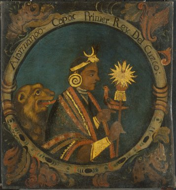 Peruvian. Manco Capac, First Inca, 1 of 14 Portraits of Inca Kings, Probably mid-18th century. Oil on canvas, 23 1/2 x 21 11/16 in. (59.7 x 55.1 cm). Brooklyn Museum, Dick S. Ramsay Fund, Mary Smith Dorward Fund, Marie Bernice Bitzer Fund, Frank L. Babbott Fund, gift of The Roebling Society and the American Art Council, purchased with funds given by an anonymous donor, Maureen and Marshall Cogan, Karen B. Cohen, Georgia and Michael deHavenon, Harry Kahn, Alastair B. Martin, Ted and Connie Roosevelt, Frieda and Milton F. Rosenthal, Sol Schreiber in memory of Ann Schreiber, Joanne Witty and Eugene Keilin, Thomas L. Pulling, Roy J. Zuckerberg, Kitty and Herbert Glantz, Ellen and Leonard L. Milberg, Paul and Thérèse Bernbach, Emma and J. A. Lewis, Florence R. Kingdon, 1995.29.1