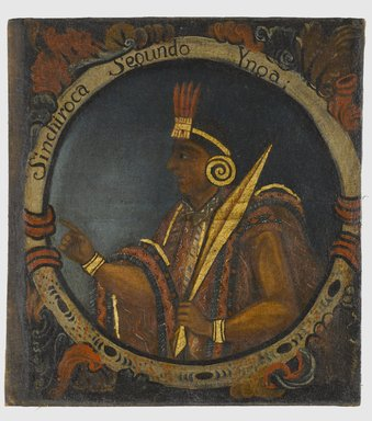 Sinchi Roca, Second Inca, 1 of 14 Portraits of Inca Kings, Probably mid-18th century. Oil on canvas, 23 5/8 x 21 11/16in. (60 x 55.1cm). Brooklyn Museum, Dick S. Ramsay Fund, Mary Smith Dorward Fund, Marie Bernice Bitzer Fund, Frank L. Babbott Fund, gift of The Roebling Society and the American Art Council, purchased with funds given by an anonymous donor, Maureen and Marshall Cogan, Karen B. Cohen, Georgia and Michael deHavenon, Harry Kahn, Alastair B. Martin, Ted and Connie Roosevelt, Frieda and Milton F. Rosenthal, Sol Schreiber in memory of Ann Schreiber, Joanne Witty and Eugene Keilin, Thomas L. Pulling, Roy J. Zuckerberg, Kitty and Herbert Glantz, Ellen and Leonard L. Milberg, Paul and Thérèse Bernbach, Emma and J. A. Lewis, Florence R. Kingdon, 1995.29.2