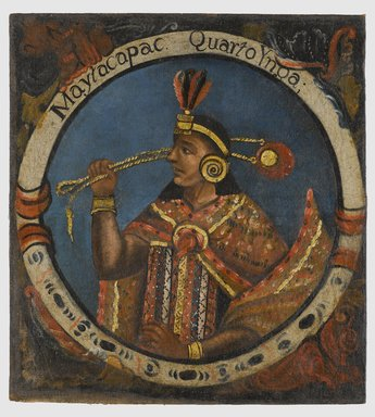 Unknown. Mayta Capac, Fourth Inca, 1 of 14 Portraits of Inca Kings, mid-18th century (probably). Oil on canvas, 23 1/2 x 21 1/2in. (59.7 x 54.6cm). Brooklyn Museum, Dick S. Ramsay Fund, Mary Smith Dorward Fund, Marie Bernice Bitzer Fund, Frank L. Babbott Fund, gift of The Roebling Society and the American Art Council, purchased with funds given by an anonymous donor, Maureen and Marshall Cogan, Karen B. Cohen, Georgia and Michael deHavenon, Harry Kahn, Alastair B. Martin, Ted and Connie Roosevelt, Frieda and Milton F. Rosenthal, Sol Schreiber in memory of Ann Schreiber, Joanne Witty and Eugene Keilin, Thomas L. Pulling, Roy J. Zuckerberg, Kitty and Herbert Glantz, Ellen and Leonard L. Milberg, Paul and Thérèse Bernbach, Emma and J. A. Lewis, Florence R. Kingdon, 1995.29.4