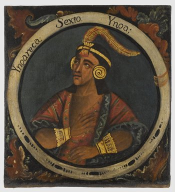 Unknown. Inca Roca, Sixth Inca, 1 of 14 Portraits of Inca Kings, mid-18th century (probably). Oil on canvas, 23 3/8 x 21 1/2in. (59.4 x 54.6cm). Brooklyn Museum, Dick S. Ramsay Fund, Mary Smith Dorward Fund, Marie Bernice Bitzer Fund, Frank L. Babbott Fund, gift of The Roebling Society and the American Art Council, purchased with funds given by an anonymous donor, Maureen and Marshall Cogan, Karen B. Cohen, Georgia and Michael deHavenon, Harry Kahn, Alastair B. Martin, Ted and Connie Roosevelt, Frieda and Milton F. Rosenthal, Sol Schreiber in memory of Ann Schreiber, Joanne Witty and Eugene Keilin, Thomas L. Pulling, Roy J. Zuckerberg, Kitty and Herbert Glantz, Ellen and Leonard L. Milberg, Paul and Thérèse Bernbach, Emma and J. A. Lewis, Florence R. Kingdon, 1995.29.6