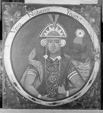 Urco, Ninth Inca, 1 of 14 Portraits of Inca Kings, Probably mid-18th century. Oil on canvas, 23 7/16 x 21 9/16in. (59.5 x 54.8cm). Brooklyn Museum, Dick S. Ramsay Fund, Mary Smith Dorward Fund, Marie Bernice Bitzer Fund, Frank L. Babbott Fund, gift of The Roebling Society and the American Art Council, purchased with funds given by an anonymous donor, Maureen and Marshall Cogan, Karen B. Cohen, Georgia and Michael deHavenon, Harry Kahn, Alastair B. Martin, Ted and Connie Roosevelt, Frieda and Milton F. Rosenthal, Sol Schreiber in memory of Ann Schreiber, Joanne Witty and Eugene Keilin, Thomas L. Pulling, Roy J. Zuckerberg, Kitty and Herbert Glantz, Ellen and Leonard L. Milberg, Paul and Thérèse Bernbach, Emma and J. A. Lewis, Florence R. Kingdon, 1995.29.9