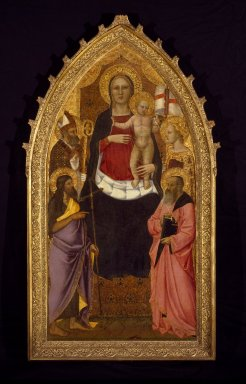 Nardo di Cione (Italian, Florentine, active 1343-1356/1366). Madonna and Child Enthroned with Saints Zenobius, John the Baptist, Reparata and John the Evangelist, mid 14th century. Tempera and tooled gold on panel, 77 1/2 x 39 1/2 in. (196.9 x 100.3 cm). Brooklyn Museum, Healy Purchase Fund B gift of Mrs. S. S. Auchincloss, James A. H. Bell, Mrs. Tunis G. Bergen, Mrs. Arthur Blake, Leonard Block, Mary A. Brackett, Mrs. Charles Bull in memory of Noel Joseph Becar, Sidney Curtis, Mrs. Watson B. Dickerman, Forrest Dryden, the Estate of George M. Dunaif, Marion Gans, Francis Gottsberger in memory of his wife, Eliza, bequest of Anne Halstead, Mrs. William H. Haupt, A. Augustus Healy, William H. Herriman, Mrs. Alexander Howe, Julian Clarence Levi, the Martin Estate, bequest of Emilie Henriette Mayr in memory of her brother and sister-in-law, Mr. and Mrs. George Mayr, Mrs. Richard Norsam Meade in memory of Margery Moyca Newell, Bernard Palitz, Richman Proskauer, Charles A Schieren, the Estate of Isabel Shults, Mr. and Mrs. Daniel L. Silberberg, Austin Wolf, Mrs. Hamilton Wolf, and Mrs. Henry Wolf, by exchange, 1995.2