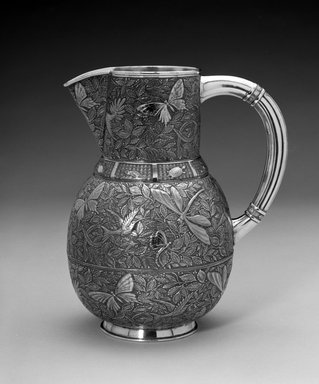 Meriden Silver Plate Company, a division of International Silver Co. (American, founded 1898). Pitcher, ca. 1880. Silver-plate, 9 x 8 x 5 1/2 in. (22.9 x 20.3 x 14 cm). Brooklyn Museum, Bequest of Marie Bernice Bitzer, by exchange, 1995.54. Creative Commons-BY