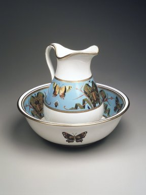 Minton and Company. Pitcher and Basin, ca. 1870. Glazed porcelain, Pitcher: height 11 1/4 in (28.6 cm) width 8 1/4in. (21 cm) diameter 7 1/2 in. (19 cm) Basin: height 4 5/8 in. (11.9 cm) diameter 14 3/4in. (37.5 cm). Brooklyn Museum, Bequest of Marie Bernice Bitzer, by exchange, 1995.58.1a-b. Creative Commons-BY