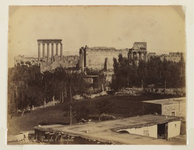 Felix Bonfils (French, 1831-1885). Balbek: view of the Acropolis, after 1867. Albumen silver photograph, sheet: height: 10 in. Brooklyn Museum, Purchased with funds given by Dr. and Mrs. Shahrokh Ahkami and an anonymous donor, 1995.86.12