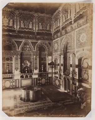 Felix Bonfils (French, 1831-1885). Damascus- Interior of the British Consulate, after 1867. Albumen silver photograph, 14 x 10in. (35.6 x 25.4cm). Brooklyn Museum, Purchased with funds given by Dr. and Mrs. Shahrokh Ahkami and an anonymous donor, 1995.86.15