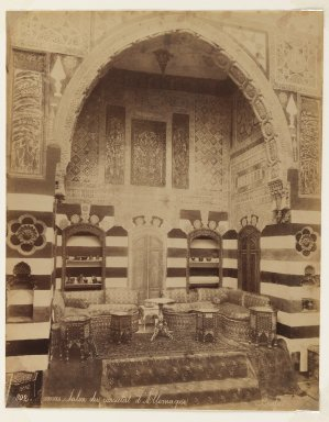 Felix Bonfils (French, 1831-1885). Damascus- Reception room of the German Consulate, after 1867. Albumen silver photograph, sheet: height: 14 in. Brooklyn Museum, Purchased with funds given by Dr. and Mrs. Shahrokh Ahkami and an anonymous donor, 1995.86.16