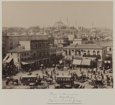 Pascal Sébah (Turkish, 1823-1886). Sulaymaniyya Mosque and Amin-Aru Square, ca. 1860-1880. Gelatin silver photograph, sheet: height: 12 in. Brooklyn Museum, Purchased with funds given by Dr. and Mrs. Shahrokh Ahkami and an anonymous donor, 1995.86.3