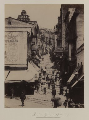 Pascal Sébah (Turkish, 1823-1886). Street of Galata Quarter, ca. 1860-1880. Gelatin silver photograph, sheet: height: 12 in. Brooklyn Museum, Purchased with funds given by Dr. and Mrs. Shahrokh Ahkami and an anonymous donor, 1995.86.4