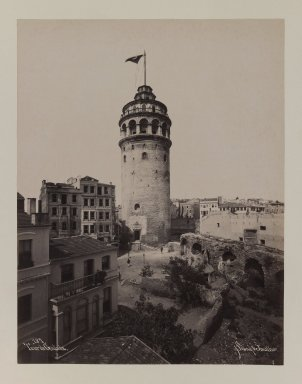 Pascal Sébah (Turkish, 1823-1886). Tower of Galata, ca. 1860-1880. Gelatin silver photograph, sheet: height: 12 in. Brooklyn Museum, Purchased with funds given by Dr. and Mrs. Shahrokh Ahkami and an anonymous donor, 1995.86.5