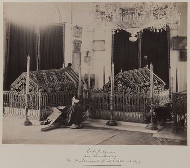 Pascal Sébah (Turkish, 1823-1886). Tombs of Sultan Mahmud II (r. 1808-1839) and Abd'ul Aziz (r. 1861-1876), ca. 1860-1880. Gelatin silver photograph, 12 x 16in. (30.5 x 40.6cm). Brooklyn Museum, Purchased with funds given by Dr. and Mrs. Shahrokh Ahkami and an anonymous donor, 1995.86.7