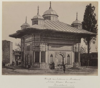 Fountain of Sultan Ahmet III (r. 1703-1730), ca. 1860-1880. Gelatin silver photograph, sheet: height: 12 in. Brooklyn Museum, Purchased with funds given by Dr. and Mrs. Shahrokh Ahkami and an anonymous donor, 1995.86.8